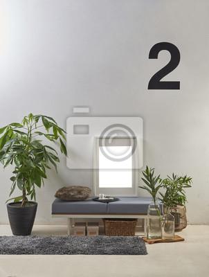 Kugelhocker rahmen und vase von pflanzen wohnzimmer interieur ...