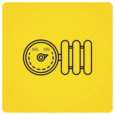Kühler mit regler-symbol. heizung zeichen. lineares symbol auf ...