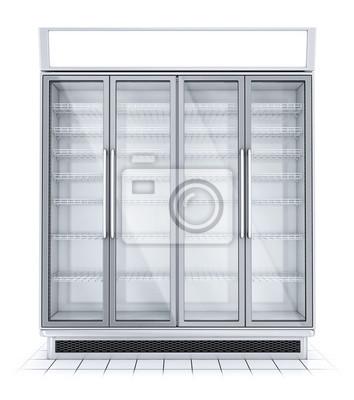Kuhlschrank Mit Transparentem Glas Isoliert Kuhlschrankschaufenster