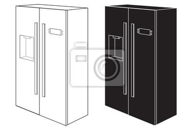 Kühlschrank Weiss : Kühlschrank zweitürer schwarz weiß symbol fototapete