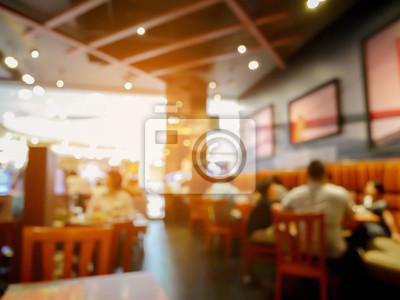Fototapete Kunden im Restaurant verwischen Hintergrund mit Bokeh