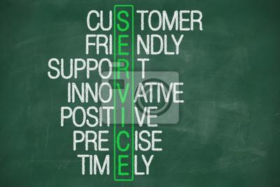 Kunden-Service-Konzept auf Tafel