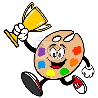 Kunst Palette Laufen mit Trophy