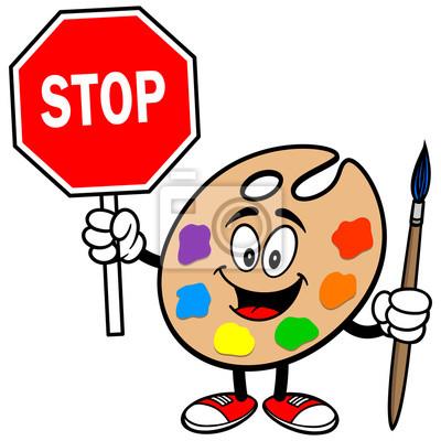 Kunst-Palette mit Stop-Schild
