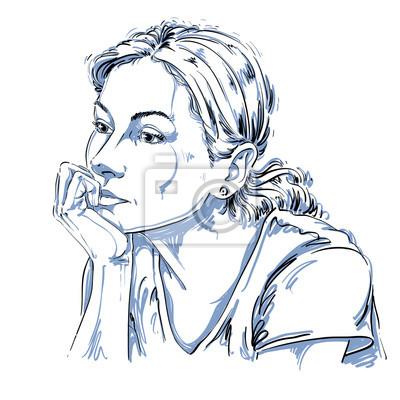 Kunstlerische Handgezeichnete Vektor Bild Schwarz Weiss Portrat
