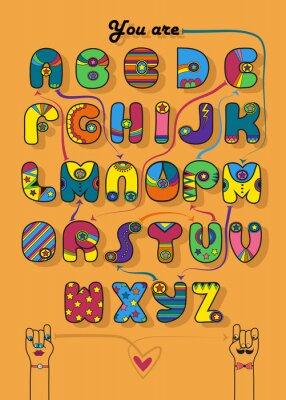 Künstlerisches Alphabet mit verschlüsselter romantischer Nachricht Du bist mein Übermensch.  Cartoon bunte Buchstaben mit hellem Dekor.  Lustige Hände, die sich mit Herz ansehen.  Illustration