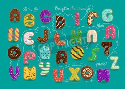 Künstlerisches Alphabet mit verschlüsselter romantischer Nachricht Ich liebe dich mehr als Donuts. Bunte Buchstaben der Karikatur als Schaumgummiringe mit hellem Sahne- und Nussdekor. Grüner Hintergru