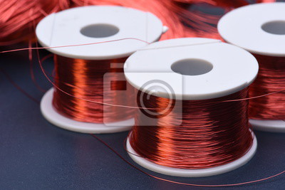 Kupfer elektrische spule und draht auf metall hintergrund fototapete ...