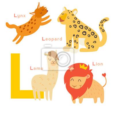 L Buchstabe Tiere gesetzt. Englisches Alphabet. Vektor-Illustration, isoliert auf weißem Hintergrund