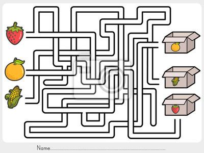 Labyrinth-spiel: wählen sie früchte-box - arbeitsblatt für bildung ...
