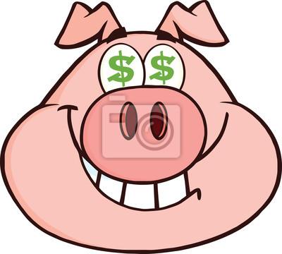 Lächeln Rich Schweinekopf Mit Dollar Augen Fototapete Fototapeten