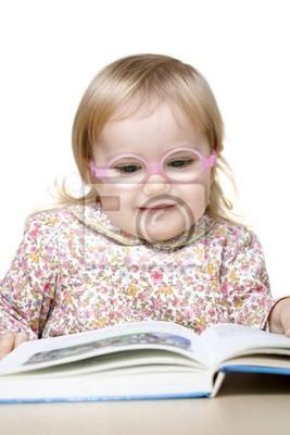 Lachelnd Baby Madchen Mit Brille Lesebuch Fototapete Fototapeten Silikon Augenarzt Sehvermogen Myloview De