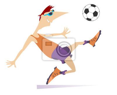 Lachelnd Junger Mann Fussball Spielen Isoliert Cartoon