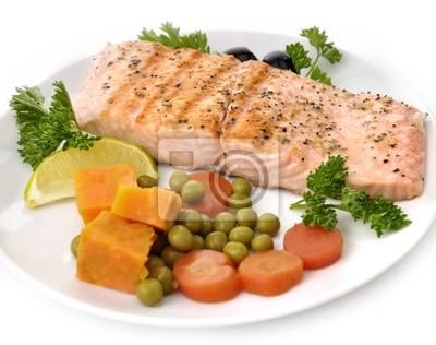 Lachsfilet mit Gemüse