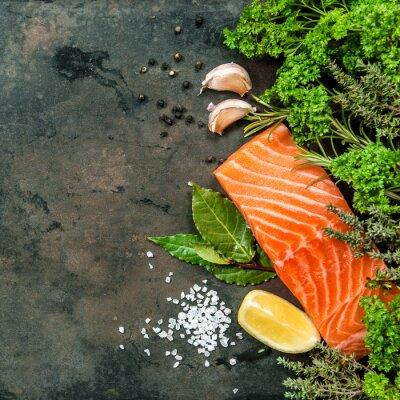 Fototapete Lachsfilet mit Kräutern. Meeresfrüchte