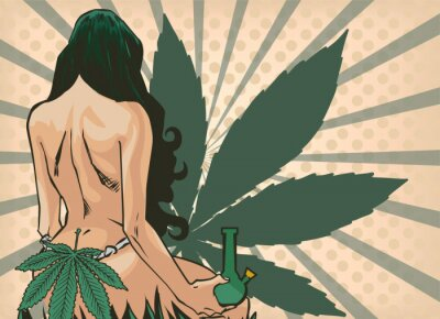 Fototapete Lady with cannabis leaf. The marijuana leafs on the background. Naked woman, vector image