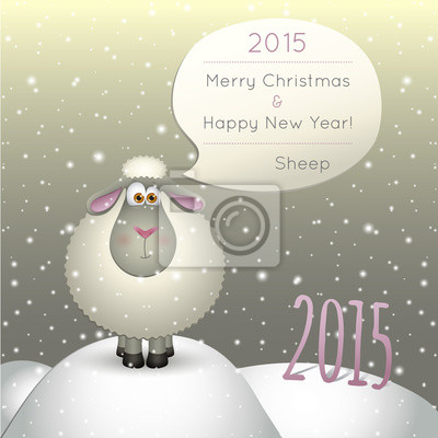 lamb on a winter background