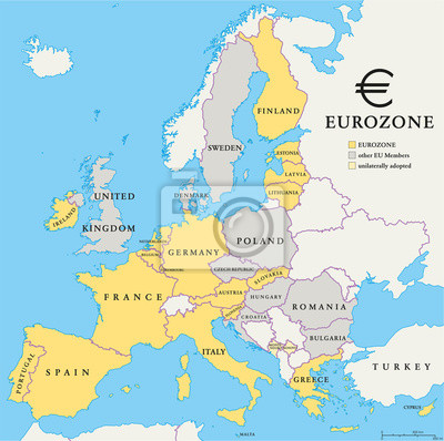 Fototapete Länder der Eurozone Map