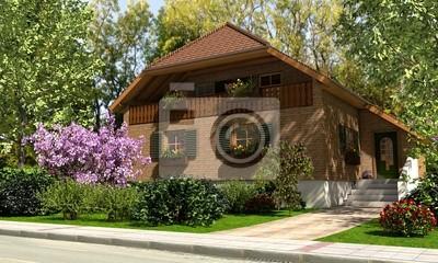 Landhaus im grünen fototapete • fototapeten Vorgarten, Eintrag ...