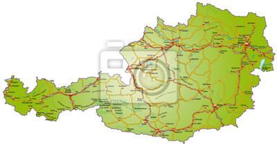 Landkarte Von österreich Mit Verkehrsnetz In Bunt Fototapete