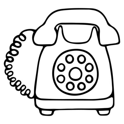 Landline telephone. The device with a disk dialer. A device for receiving and transmitting sound at a distance. Vector illustration. Contour on an isolated white background. Doodle style. Sketch.