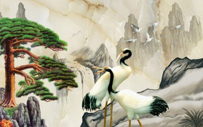 Fototapete Landscape illustration, marble, mountains, a pair of cranes, green pine on a rock