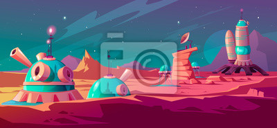 Fototapete Landscape of Mars surface with colony buildings. Astronaut base on red planet. Vector cartoon futuristic illustration of space colonization, cosmos exploration concept. Space station in alien galaxy