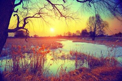 Fototapete Landschaft im ländlichen Raum. Sonnenuntergang über See