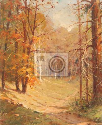 Landschaft Kunst Gemälde Herbst Wald üppigen Laub Fototapete