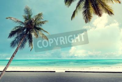 Fototapete Landschaft Vintage Natur Hintergrund der Kokosnuss-Palme auf tropischen Strand blauen Himmel mit Sonnenlicht des Morgens im Sommer, Retro-Effekt-Filter