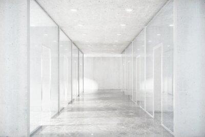 Fototapete Lange Korridor mit Betonboden und transparente Wände in moder
