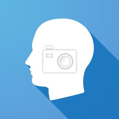 Fototapete Lange Schatten Symbol mit einem Kopf