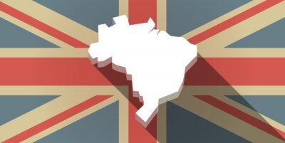 Fototapete Lange Schatten UK Flag-Symbol mit einer Karte von Brasilien