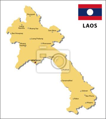Laos Karte.Fototapete Laos Karte
