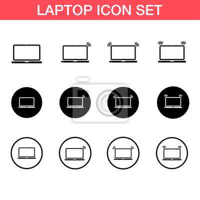 Laptop-vektor-symbol, satz. drahtloses symbol fototapete ...