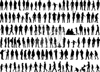 Fototapete Large collection of silhouettes concept.