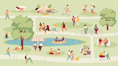 Fototapete Large crowd of people in the park. Recreation, sport and outdoor activities vector illustration