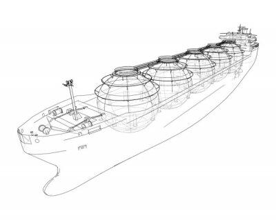 Fototapete Large gas tanker or LNG carrier. Vector