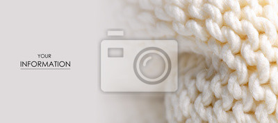 Fototapete Large knit white fabric texture textile macro pattern blur background