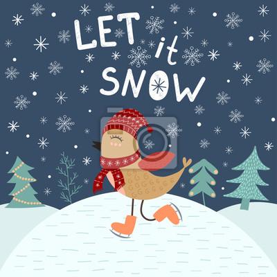 Lass es schneien. Kartenschablone mit einem niedlichen Vogel. Weihnachten Vektor-Illustration