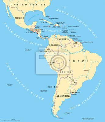 Südamerika Karte Länder.Fototapete Lateinamerika Politische Karte Mit Großbuchstaben Nationale