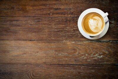 Fototapete Latte Kaffee auf Holz mit Platz.