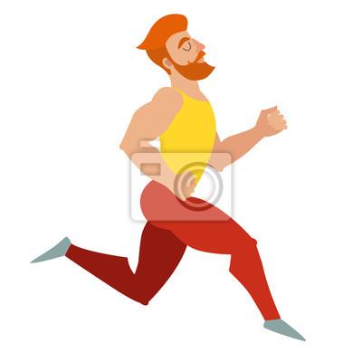 Laufen. Bearded Mann mit einem Schnurrbart Muskeln laufen. Isolierte Vektor-Illustration auf weißem Hintergrund.