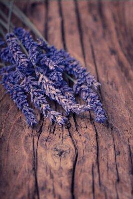 Fototapete Lavendel Blume auf Holz