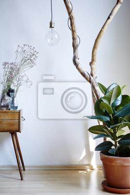 Fototapete: Lebendige sonnige atmosphäre wohnzimmer dekoration pflanzen  schrank