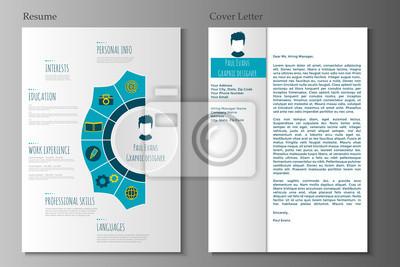 Lebenslauf Und Anschreiben In Flachen Stil Design Fototapete