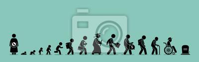 Fototapete Lebenszyklus und Alterungsprozess. Person aufgewachsen von Baby bis zum Alter.