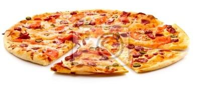 Leckere italienische Pizza auf weißem
