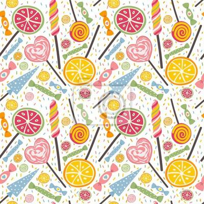 Leckere nahtlose Muster mit Süßigkeiten und Lutscher