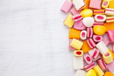Fototapete Leckere süße Süßigkeiten mit Kopie Raum